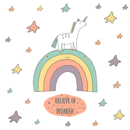 Cute hand drawn doodle card, postcard with fairy tale unicorn, rainbow and stars. Believe in wonder positive, motivating cover with text space