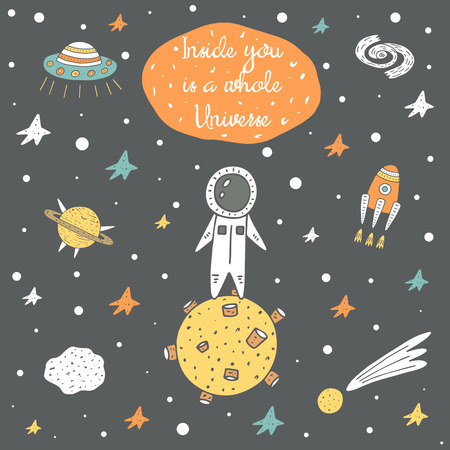 starfield: Cute hand drawn cosmic doodle card, brochure with stars, rocket, moon, comet, meteor, galaxy, spaceman, planet saturn and alien ship. Inside you is a whole universe positive, motivating postcard