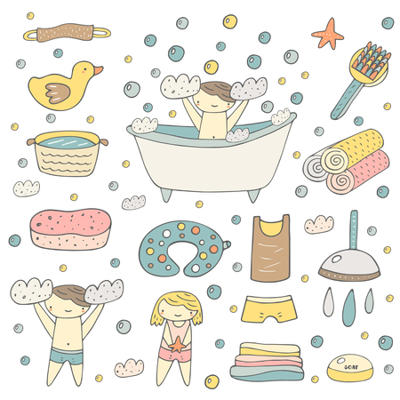 Cute hand drawn baby bathing objects collection including bath, foam, duck, soap, towel, t shirt, pants, shower, drops, sponge, air pillow, bubbles, washbowl. Girl and boy taking bath background