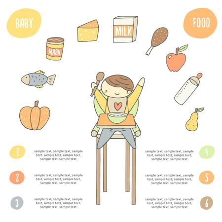 Nette Hand gezeichnete Doodle Karte, Poster mit glücklichen Kind auf dem Stuhl zu essen Mahlzeit. Lebensmittel-Sammlung mit Kürbis, Fisch, Käse, Milch, Huhn, Apfel, Flasche, Birne. Infografik über Babynahrung