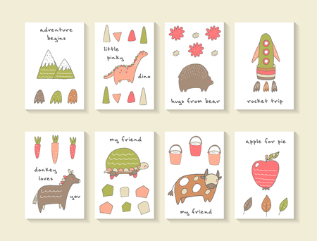 apple cartoon: Cute hand drawn doodle cards, brochures, invitations with mountain, dinosaur, bear, rocket, carrot, donkey, turtle, cow, bucket, apple, leaf. Cartoon animals, objects background for children