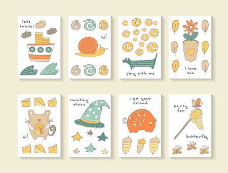 pelota caricatura: tarjetas lindo mano doodle ducha del bebé, folletos, invitaciones con la nave, caracol, onda, nubes, perro, bola, pote de flor, hoja, ratón, queso, cerdo, bellota, mariposa, estrella, sombrero. Animales de la historieta de fondo