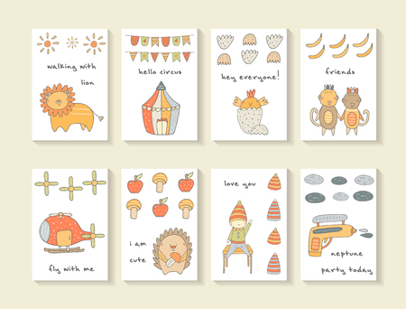 Cute hand drawn doodle cards, brochures, invitations with lion, circus, flags, sun, chicken, egg, monkey, banana, helicopter, apple, hedgehog, pistol. Cartoon animals, objects background for children
