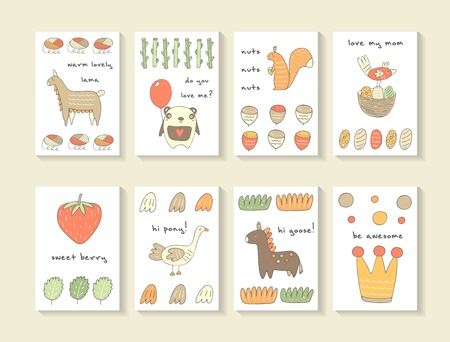 Cute hand drawn doodle baby shower cards, brochures, invitations with lama, panda, balloon, squirrel, nut, bird, egg, nest, strawberry, goose, pony, crown, circle, leaf. Cartoon animals background Illustration