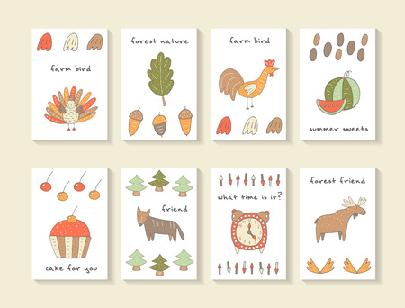 Cute hand drawn doodle baby shower cards, brochures, invitations with turkey, oak leaf, acorn, cock, watermelon, cake, cherry, wolf, fur tree, clock, arrow, horn, moose. Cartoon animals background