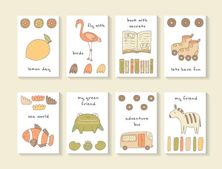 limon caricatura: tarjetas lindo mano doodle ducha del bebé, folletos, invitaciones con limón, flamenco, libro, peces payaso, rana, autobús, cebra, rayas, hoja, rueda, patines, lirio de agua. Animales de la historieta de fondo Vectores