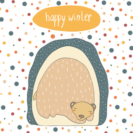 animal den: Cute hand drawn doodle card, cover with bear sleeping in the den. Postcard with snow and dialog bubble. Happy winter background Illustration