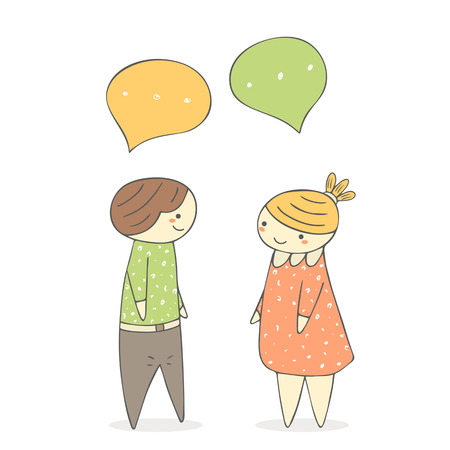 Cute hand drawn doodle chatting boy and girl. Dialog between two people