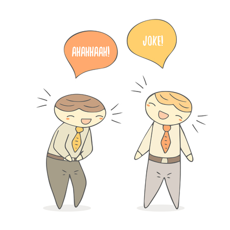 jest: Cute hand drawn doodle laughing boys. Dialog between boys, students, office workers