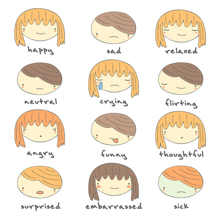 grimace: Cute hand drawn doodle boy and girl faces with emotions including happiness, sadness, relaxation, flirting, sick, embarrassment, neutral, crying, angry, funny, thoughtful, surprised emotions.