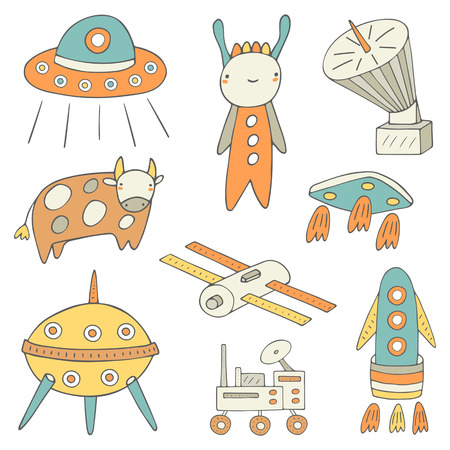 Cute hand drawn doodle space, cosmic objects collection including spaceship, ufo holding cow, rocket, satellite, alien, aircraft, shuttle, planet exploring machine. Space technology icon, banner, logo Illustration
