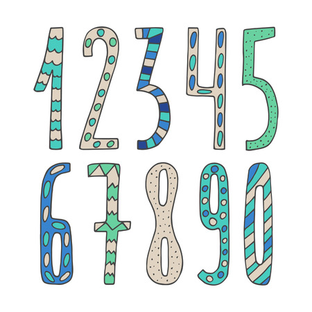cute kids: Hand drawn cute doodle mathematics numbers collection