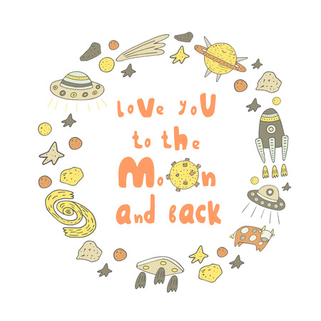 postcard back: Cute hand drawn doodle card with frame, moon, star, planet, rocket, cow, galaxy, comet, ufo ship, meteor. Love you to the moon and back postcard, background. Wedding, romantic cover