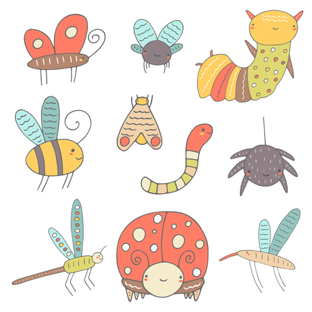 lady fly: Cute hand drawn doodle insects collection including butterfly, bee, lady bird, worm, fly, moth, caterpillar, mosquito, dragonfly, spider. Insect icon. Happy, smiling insects collection for children Illustration