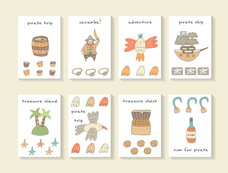 Cute hand drawn doodle cards, brochures, covers with barrel, pirate, parrot, ship, pirate flag, island, seagull, treasure chest, rum bottle, hooks, eyepatch. Cartoon pirate theme background, objects