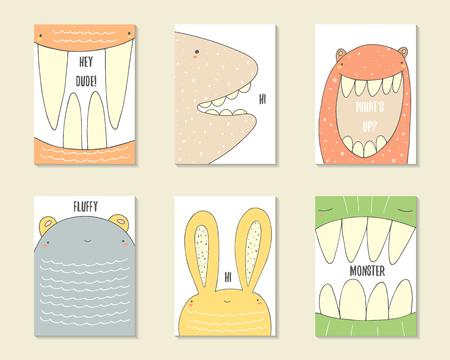 demonio: dibujados mano linda del cumpleaños del, la parte de tarjetas, folletos, invitaciones con monstruos, criaturas divertidas, conejo, oso, fantasma. Personajes de dibujos animados de fondo. plantillas imprimibles establecen