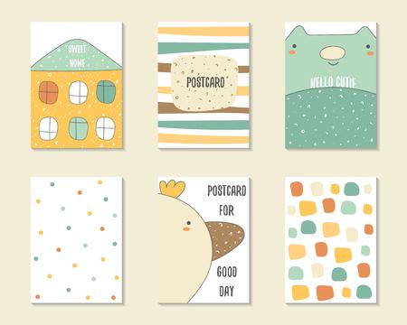cumpleaños lindo del arte del, partido, tarjetas de baby shower, folletos, invitaciones con las casas, rayas, gato, pájaro, la burbuja de diálogo, puntos. personajes de dibujos animados, los objetos del fondo. plantillas imprimibles establecen Logos