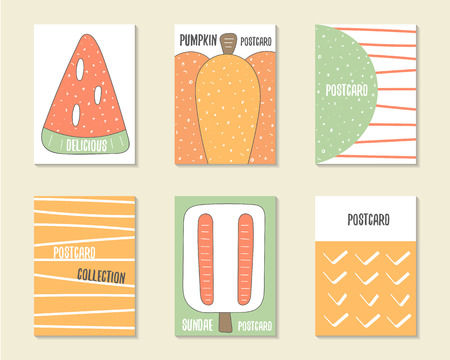 sweet food: Cute doodle birthday, party, baby shower cards, brochures, invitations with watermelon, pumpkin, dialog bubble, stripes, ice cream. Cartoon food, objects background. Printable templates set Illustration