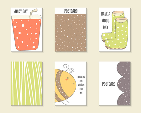 bee party: Cute doodle birthday, party, baby shower cards, brochures, invitations with glass of juice, rubber boots, bee, stripes. Cartoon characters, objects background. Printable templates set Illustration