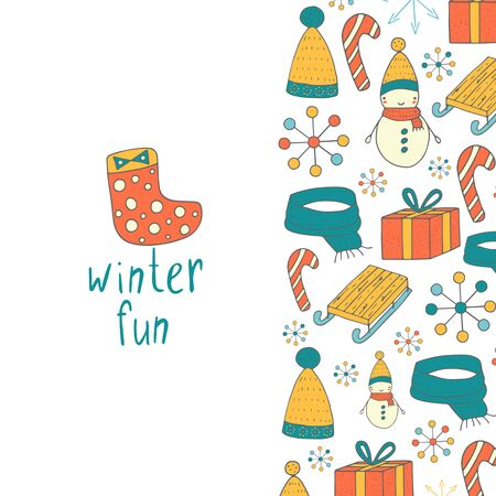 wooden hat: Cute hand drawn doodle card, cover, page with winter objects including snowman, present, candy stick, scarf, hat, sock, snowflake, wooden sleds. Winter postcard, background. Postcard for new year