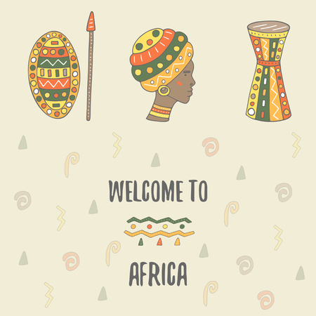 african tribe: Cute hand drawn doodle africa theme card, postcard, cover with drum, african woman, shield, spear,design elements. Africa icon, background Illustration