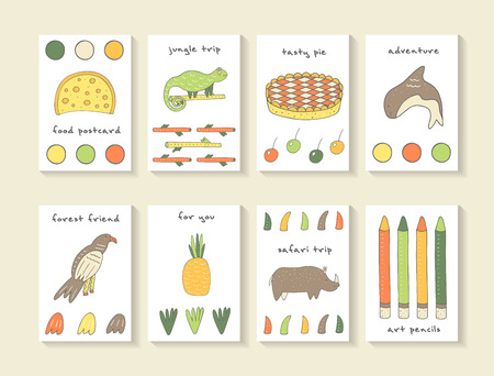 rhino: Cute hand drawn doodle baby shower cards, brochures, invitations with cheese, circle, pie, berry, orca, eagle, pineapple, pencil, rhino, chameleon, branch. Cartoon animals background