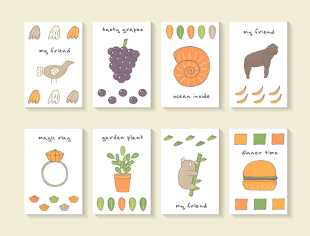 banana leaf: Cute hand drawn doodle baby shower cards, brochures, invitations with pigeon, grape, shell, gorilla, ring, brilliant, leaf, banana, plant, koala, hamburger. Cartoon animals background Illustration