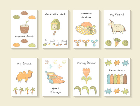cartoon carrot: Cute hand drawn doodle baby shower cards, brochures, invitations with coconut, clock, hat, goat, camel, snickers, tulip, fence, bow, cabbage, carrot, palm, leaf. Cartoon animals, objects background Illustration