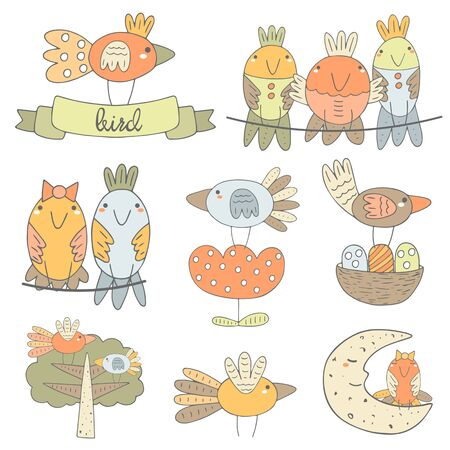 bird wing: Cute hand drawn birds collection including bird sitting on the ribbon, boy and girl bird, bird on the flower, bird on the moon, birds on the tree, flying bird, bird with nest. Funny characters set Illustration