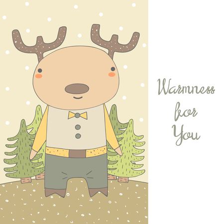 warmness: Cute hand drawn doodle postcard with deer and christmas trees. Positive card about warm feelings, warmness. Christmas background with reindeer