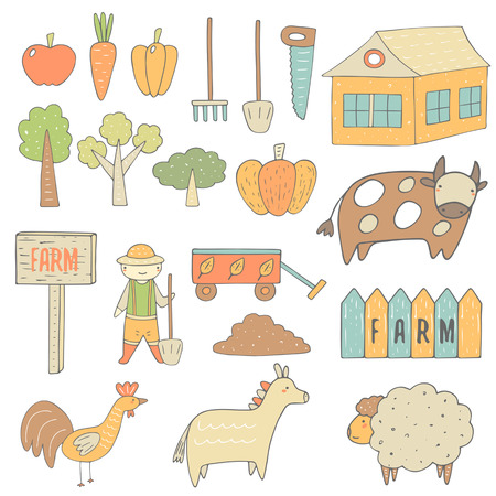 house donkey: Cute hand drawn doodle farm objects collection including apple, carrot, pepper, pumpkin, tree, house, banner, farmer, garden cart, fence, cow, chicken, donkey, sheep, shovel, saw, rake. Farm icons