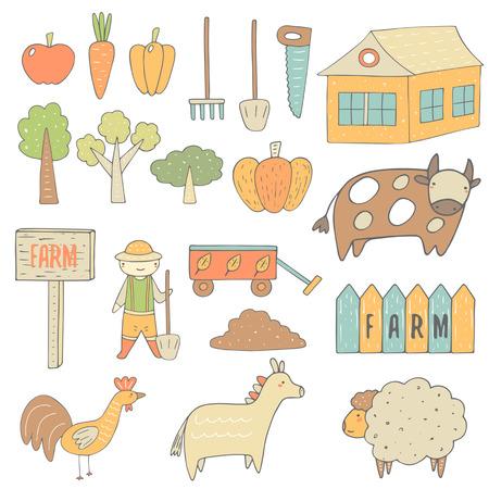 calabaza caricatura: granja bosquejo dibujado mano linda colección de objetos incluyendo manzana, zanahoria, pimiento, calabaza, árbol, casa, bandera, granjero, carro de jardín, cerca, vaca, pollo, burro, oveja, pala, sierra, rastrillo. iconos de granja Vectores