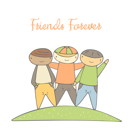 brother brotherhood: Cute hand drawn doodle card, postcard with boys. Postcard about friendship, tolerance. Background with Afro American, Asian and European boys