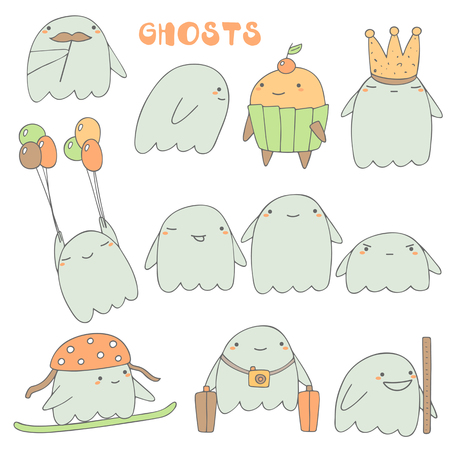cute ghost: Cute hand drawn ghosts collection including ghost with mustache, ghost and muffin, ghost with crown, ghost with balloons, ghost with luggage, ghost with snowboard, ghost walking through the wall