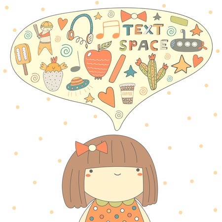 introverted: Cute doodle card, postcard with girl thinking about different things. Background with introverted girl and dialog bubble.Objects set including ice cream, apple, bird, boy, cactus, submarine, earphones