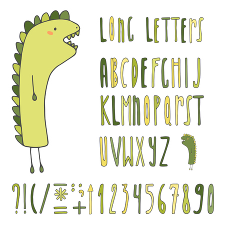 funny monster: Cartoon hand drawn doodle alphabet. Children letters collection. Long letters, numbers with monster in purple colors Illustration