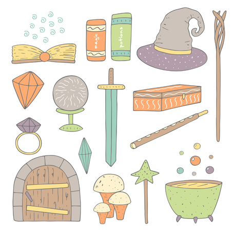 magic cauldron: Cute hand drawn doodle magic objects collection including sword, ring, crystal, book, magic ball, mushroom, wooden door, hat, wand, magic stick, cauldron with potion, casket, flute. Magic icons set Illustration