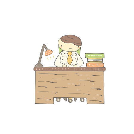 pupil: Cute hand drawn doodle office worker, student, pupil sitting at the table with books and lamp. Office life background