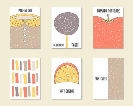 paleta de caramelo: dibujados mano linda del doodle de la ducha del beb�, cumplea�os, la parte de tarjetas, folletos, invitaciones con el su�ter, lollipop, tomate, raya, queso. Animales de dibujos animados, los objetos del fondo.
