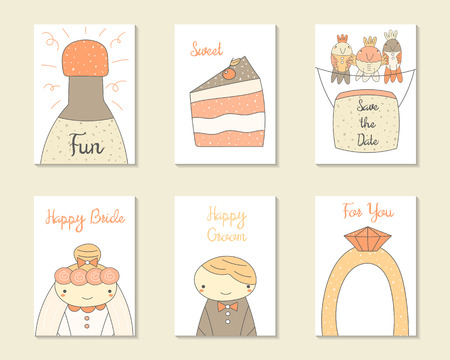 engagement party: Cute doodle wedding, party, engagement cards, brochures, invitations with bride, groom, cake, birds, banner, ring, champagne. Cartoon objects background. Printable templates set