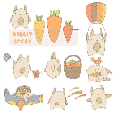 bebes lindos: Conejos lindo drenado mano de la incluido el conejo con la zanahoria, conejo con el globo, conejo con la cesta, conejo dormir, conejo en el avión, estrellas de conejo viendo, conejo feliz. personajes de conejo fijados Vectores