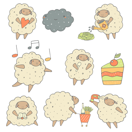 sheep wool: Cute hand drawn sheep set including ship with heart, dancing sheep, sheep and cake, sheep reading a book, sheep with product cart, sheep with hair dryer, sheep watering cabbage. Funny characters set