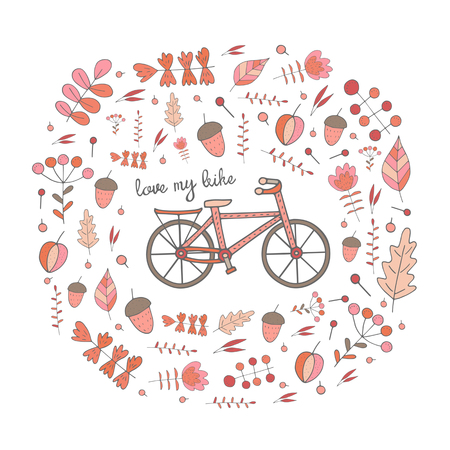 bike cover: Cute hand drawn doodle postcard, card, cover with bike. Background with nature elements frame including flowers, plants, leaves, berries, acorns. Love my bike spring background