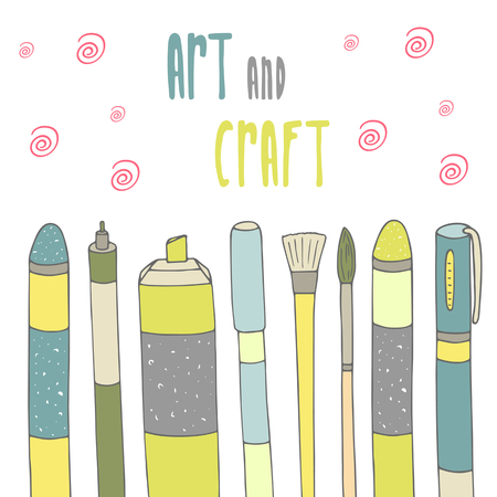 art supplies: Cute hand drawn doodle postcard with pencil, pen, marker, brushes and art supplies. Art and craft card, background