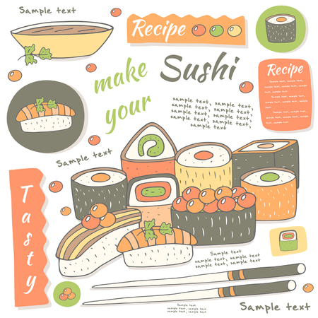 susi: Cute hand drawn doodle sushi collection. Page, cover, postcard, background with sushi infographic. Food and objects collection including caviar, salmon, sticks, shrimp, soy sauce Illustration
