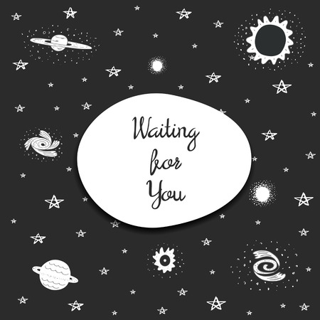 nebulosity: Cute hand drawn doodle space postcard with milky way, galaxy, black hole, star, stars, ball cluster, stardust. Waiting for you cover, background. Card about love, feelings