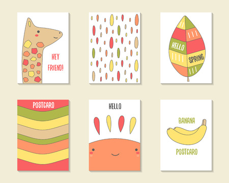 cute doodle: Cute doodle cards, brochures, invitations with giraffe, leaf, stripes, drops, sun, banana. Cartoon characters, objects background. Printable templates set Illustration