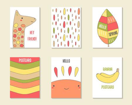 jirafa cartoon: tarjetas lindas del doodle, folletos, invitaciones con jirafa, hoja, rayas, gotas, sol, plátano. personajes de dibujos animados, los objetos del fondo. plantillas imprimibles establecen Vectores
