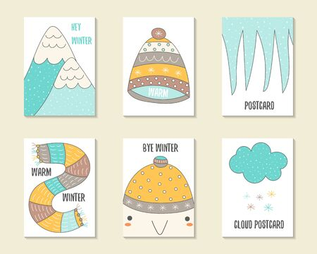 icicles: Cute doodle winter theme cards, brochures, invitations with mountains, hat, icicles, scarf, penguin, snow cloud. Cartoon characters, objects background. Printable templates set