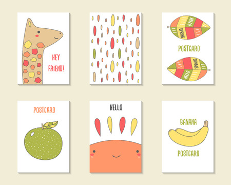 banana leaf: Cute doodle cards, brochures, invitations with giraffe, leaf, apple, drops, sun, banana. Cartoon characters, objects background. Printable templates set Illustration